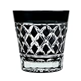 Double Old Fashioned Rocks Glass 11.4 Oz Edo Kiriko Cut Glass Black - Yarai Bamboo Palisade Fencing Pattern [Japanese Crafts Sakura]