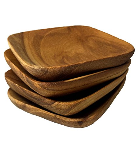 Solid Teak Wood Square Herb Mini Bowls, Set of 4 by Rustic Wall Co.