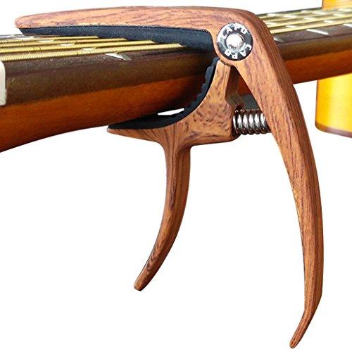 MUSE 6 String Wood Color Metal Guitar Capo for Acoustic Guitar, Electric Guitar, Ukulele (Rosewood (Metal Guitar Bridge)