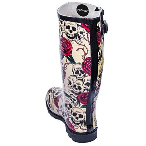 Skull gomma Spylovebuy amp; Roses donna di Stivali 4qxqIEw7g