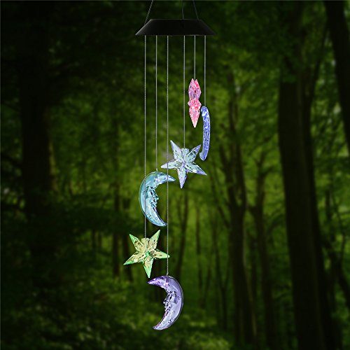Changing Color Stars and Moon Wind Chime, AceList Spiral Spinner Windchime Portable Outdoor Decorative Romantic Windbell Light for Patio, Deck, Yard, Garden, Home, Pathway - Moon Chime