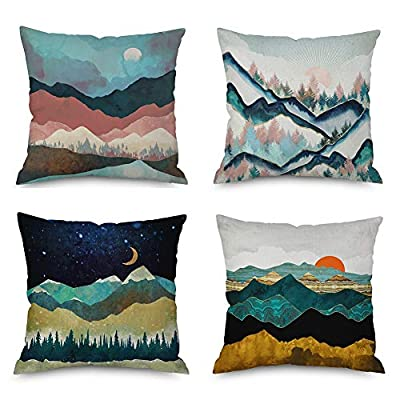 HEYHOUSENNY Cartoon Landscape Mountains Decorative Watercolour Throw Pillow Covers Tree Bright Cushion Covers Square Outdoor Pillowcase for Sofa Set of 4 (Forest,Sun,Moon) - Material: Decorative throw pillow covers are made of Polyester and Polyester Blend, soft and easy care. Size: 18 x 18 inches (pls note:Inserts are not included and the pattern paint one side only) Feature:Add a touch of graceful color to your bedroom, guest room, kids room, Great gift idea for men and women, Moms and Dads, Valentine's - Mother's - Father's Day and Christmas. - patio, outdoor-throw-pillows, outdoor-decor - 51N5VDa2DJL. SS400  -