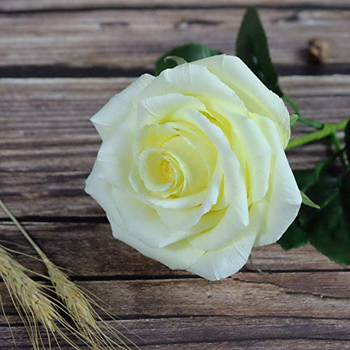 Yellow Paper Rose Handmade Realistic Artificial Flowers Unique Gifts For Her for Wedding Anniversary, Valentine Day, Mother's Day, Ideal for Home Wedding Party Decoration, 01 Single Long Stem ()