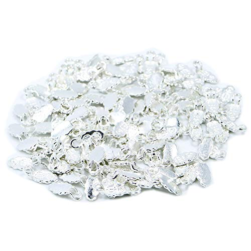 Sterling Silver Plated Bail Pendant - 100 Pieces Sterling Silver Plated Fashion Jewelry Earring Bails for Glass Tile DIY Pendants Shiny Silver Glue on Bail (Silver)