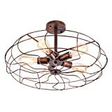 OYI Vintage Industrial Retro Ceiling Chandelier Light, 5 Lights Close to Ceiling Semi Flush Mount Oil Rubbed Bronze Light Fixtures Metal Cage Style Rustic Pendant Lamp (Rust Color)