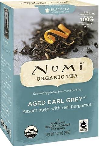 Numi Organic Tea Aged Earl Grey, Full Leaf Black Tea in non-GMO Tea Bags, 18-Count Box (Pack of 6) - Numi Black Organic Tea