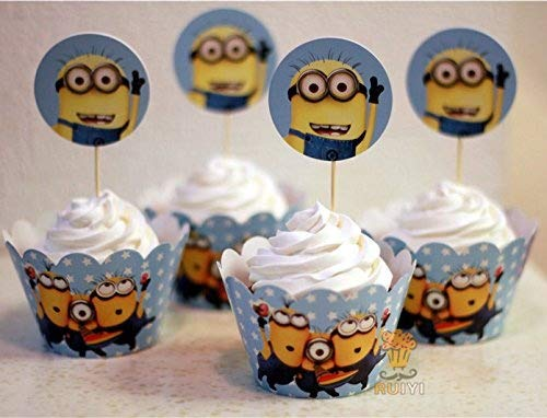 (Fatflyshop - 24 Pieces/lot Despicable Me Minions Cupcake Wrappers Cake Toppers Picks Decoration Kids Birthday Party Favors)