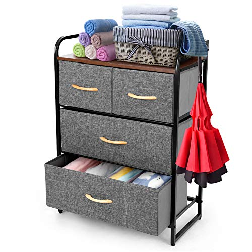 TUSY 4 Dressers Drawer Tower, Drawers Organizer Storage Dressers for Bedroom, Closet, Hallway, Entryway, Nursery Room, Office Organization, Fabric Bins