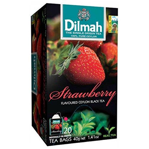 Ceylon Teas Strawberry Tea - Dilmah Strawberry Flavored Ceylon Black Tea - 20 Tea Bags - Sri Lanka Ceylon Dilmah Strawberry Tea Real Tea