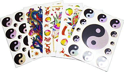- Fancy! Mix Yin Yang, Tao, Dragon, God Chinese Sparkle Sticker-5 Sheet