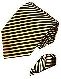 LORENZO CANA - Italian 100% Silk Business Tie Hanky Set Black Gold Stripes Necktie - 8436601
