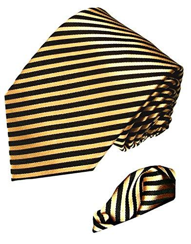 - LORENZO CANA - Italian 100% Silk Business Tie Hanky Set Black Gold Stripes Necktie - 8436601