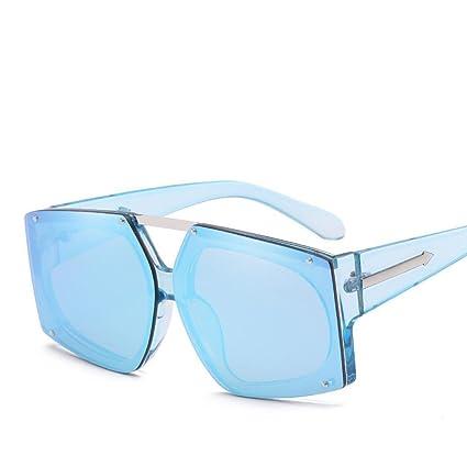BiuTeFang Gafas de Sol Mujer Hombre Polarizadas Flechas de Metal Irregular Gran Marco Gafas de Sol