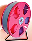 Wodent Wheel SUGAR GLIDER/HAMSTER 11'' DIAMETER w. SAFETY SHIELD- PINK WITH LT. BLUE TRACK