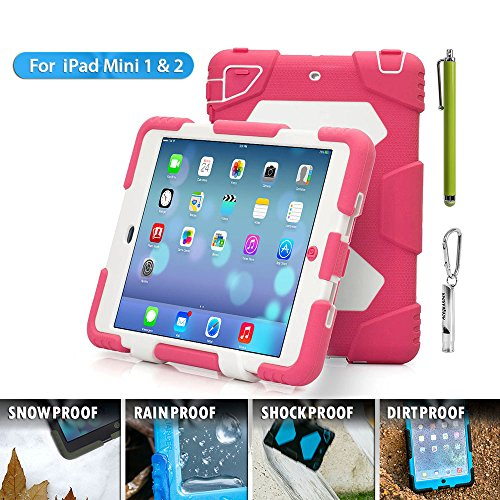 Aceguarder Apple Ipad Mini 1&2&3 Case Waterproof Rainproof Shockproof Kids Proof Case for Ipad Mini 2 Mini 1&2(gifts Outdoor Carabiner + Whistle + Handwritten Touch Pen) (PINK-WHITE)