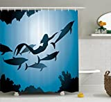 Mermaid Decor Shower Curtain Set By Ambesonne, The Mermaid And Dolphins Underwater View Friendship Travel Diving Fin Sea, Bathroom Accessories, 84 Inches Extralong