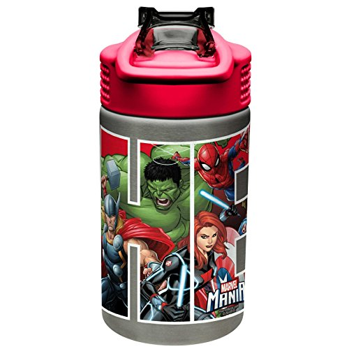 (Zak Designs Marvel 15.5oz Stainless Steel Kids Water Bottle with Flip-up Straw Spout - BPA Free Durable Design, Marvel Universe SS)