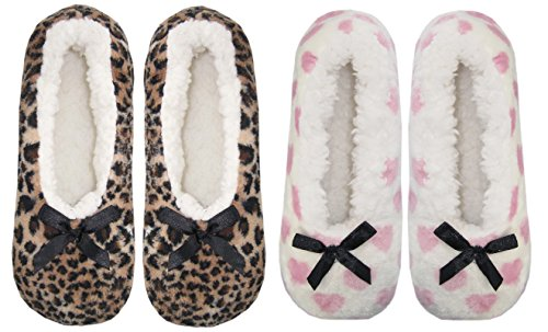 Slipper Lined Animal Socks 2pack Fleece Heart Sherpa Womens Cozy qxvwZCxgI