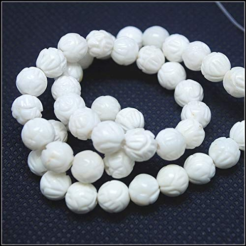 Calvas White Lotus Flower Shell Beads Loose Beads Mother of Pearl South China sea Shell Carving Beads 8mm 10mm 12mm New Beads DIY - (Item Diameter: 8mm 47pcs)