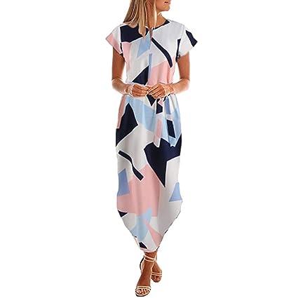 613e72a1c36 Women Summer 2019 Beach Party Dresses Cuekondy Short Sleeve V Neck  Irregular Geometric Print Maxi Dress