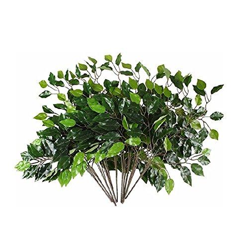 Silk Artificial Spray - Bundle Of 12 GREEN Ficus Leaves Sprays Silk Artificial