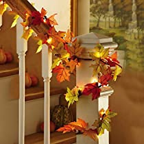 Lighted Autumn Leaf Harvest Fall Leaves Garland Lights String Thanksgiving Décor, 8.7inch 20 LED Lights,WarmWhite