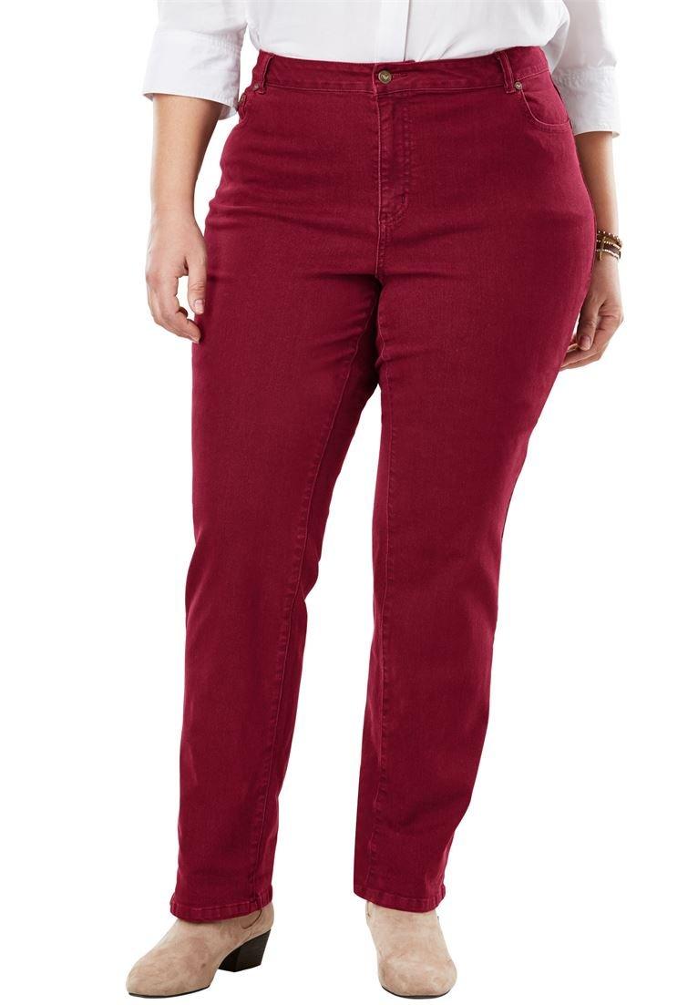 Women's Plus Size Straight Leg Stretch Jean Rich Burgundy,18 W