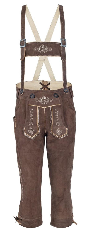 Isar Trachten Kinder Kniebund Lederhose Florian - Braun - Hochwertige Trachtenhose für Jungen zu Oktoberfest und Kirchweih