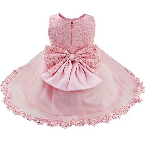 TiaoBug Baby Girls Flower Wedding Pageant Princess Bowknot Communion Party Dress Pink(Lace) 18-24 Months ()