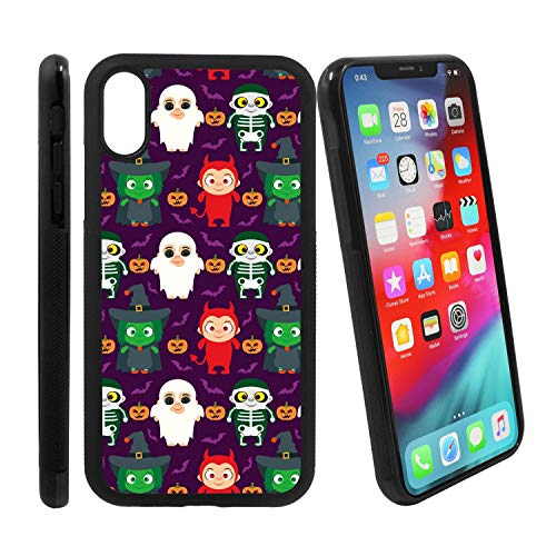 [Funny Kids in Halloween Costume] Compatible with Apple iPhone Xs/iPhone X, Non-Slip Soft Rubber Side & Hard Back Case Cover Shell Skin ()