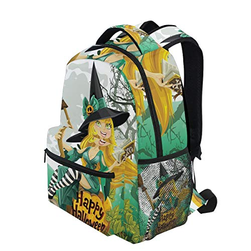 KVMV Cheerful Smiling Girl Halloween Costume On Pumpkin Giant Moon Woodland Lightweight School Backpack Students College Bag Travel Hiking Camping Bags -