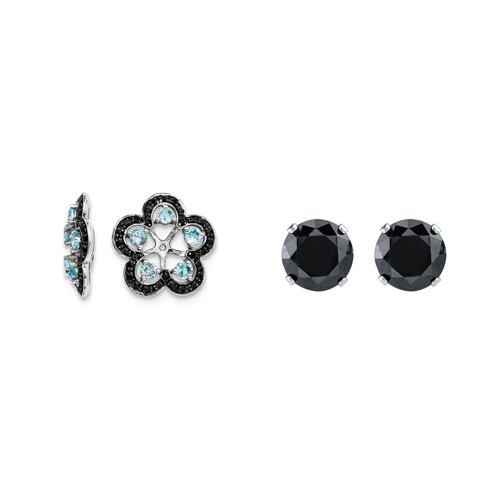 Sterling Silver Blue Simulated Topaz, Black Simulated Sapphire Earring Jacket + 2mm Black CZ Studs