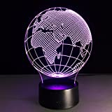 NUOLUX 3D Lamp Visual Light Effect Touch Switch Colors Changes Night Light (Africa Map)