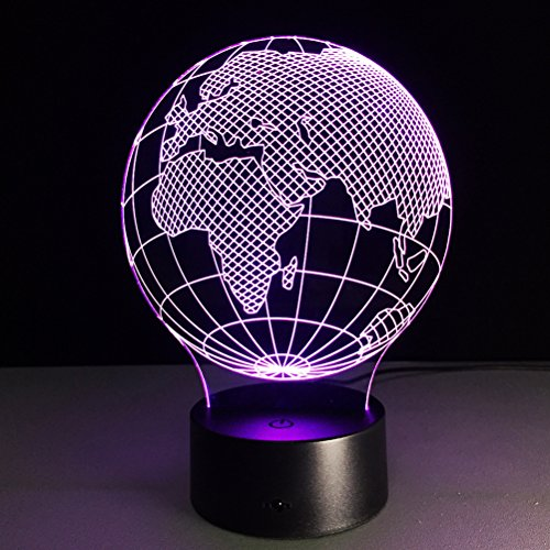 NUOLUX 3D Lamp Visual Light Effect Touch Switch Remote Control Colors Changes Night Light (Africa Map) by NUOLUX