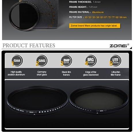 ND2-400 filtri a densit/à neutra regolabili ZOMEI 49//52//55//58//62//67//72//77//82 mm