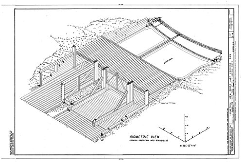 - historic pictoric Structural Drawing Isometric View - Round Lake Logging Dam, Flambeau River, South Fork, Park Falls, Price County, WI 66in x 44in