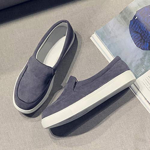 2019 New Women's Shoe Flat Low Heel Soft Solid Flock Single Shoes Shallow Casual Outdoors Sneakers Single Shoes (Dark Gray, 5.5 M US) by Aurorax Shoes (Image #8)
