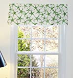 Green & White Window Curtain Valance with Ruffled Top For Sale