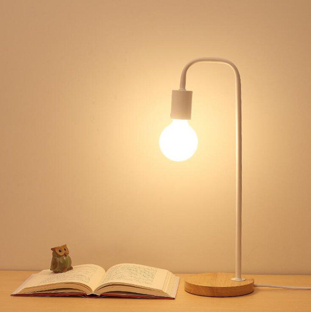KIMSAI Tischlampe Nordic Art Style Schlafzimmer Wohnzimmer Nachttisch Studie Tischlampe Knopfschalter Tischlampe,schwarz