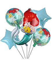 Mermaid Party Supplier 5PCS Mermaid Foil Balloons for Kids Birthday Baby Shower Princess Mermaid Theme Party Decorations