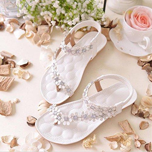 YOUJIA Mujeres Bohemia Flores dulces Sandalias Diamante de imitación Sandalias Plano Zapatos de Playa Blanco #Rhinestones