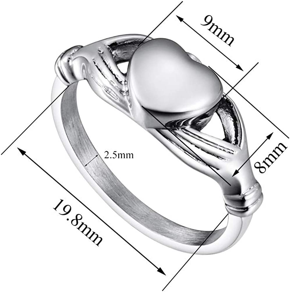 Memorial Keepsake for Ashes Urn Ring Ashes Holder Locket Heart Engravable Cremation Ring for Ashes