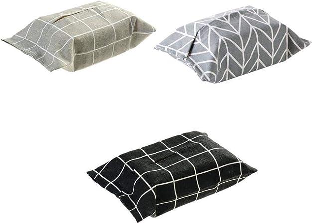 LLxxx Caja de pañuelos-Caja de Almacenamiento de pañuelos de algodón y Lino, Cuadros Grises: Amazon.es: Hogar