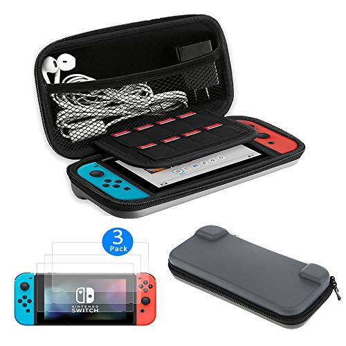 EEEKit 2-in-1 Starter Kit for Nintendo Switch, Protective Hard Travel Carry Accessories Case Bag + 3 Pack HD Clear Full Coverage Screen Protector for Nintendo Switch