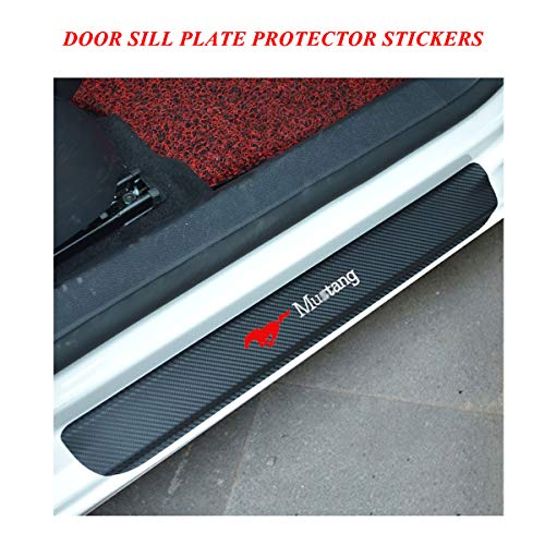 Door Sill Protector Stickers, Universal Car Door Sill Scuff Plate Protector Pedals with Mustang Logo, Door Sill Protector Covers for Ford series, Vinyl Door Sill Entry Guards Cover for car Red 2pcs ()