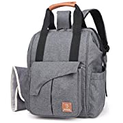 HaloVa Diaper Bag, Mummy Travel Backpack, Baby Care Waterproof Large Capacity Milk Powder Bottle Nappy Bag with Genuine Leather Handle, Anti Theft Pocket, Changing Pad, Stroller Straps, Gray