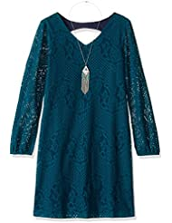 Speechless Girls' Big Girls' L/s Lace Necklace Dress