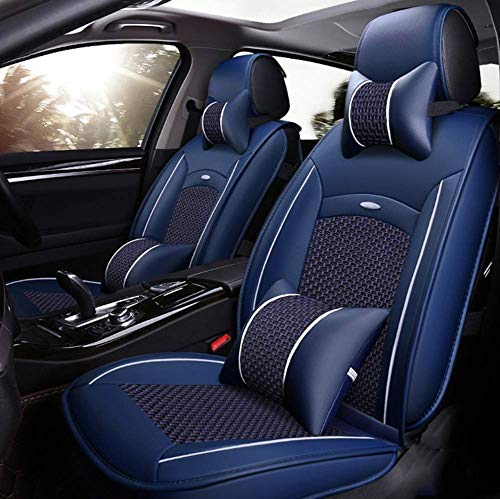AYCYNI Leather Ice-silk Car Seat Cover- Anti-Slip Suede Backing Universal Fit Car Seat Cushion for Both Fabric and Leather Car Seats,Red,Blue: Kitchen & Home