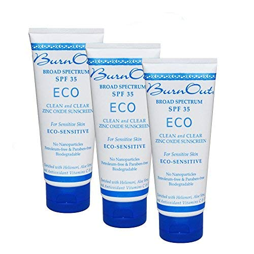 BurnOut Sunscreen SPF 35 Eco-Sensitive Zinc Oxide Clean and Clear, 3 oz. 3-Pack ()