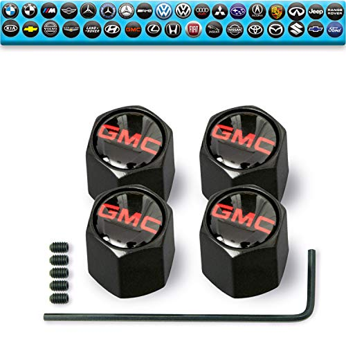 Custom Tire Valve Stem Caps (35 Vehicle Models) Anti-Theft Hexagon Design | Car, Truck, SUV | Leakproof, Airtight, Dustproof Seal | All-Weather, Lock Tight Fit (for GMC Vehicles)